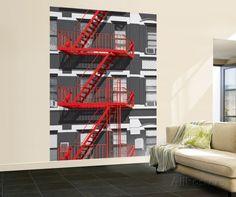 Red Fire Escape Huge Wall Mural Art Print Poster Mural de papel de parede