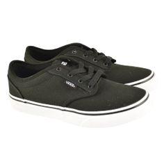 #Zapatillas de lona con cordones y suelas blancas de goma modelo Y Atwood en color negro de la marca skate VANS.