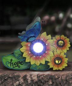 Yellow 'Hope' Flower Solar Light-Up Garden Décor #zulily #zulilyfinds