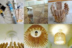Reciclagem - pregador de roupas + arame = luminária