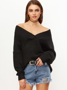 Black V Neck Drop Shoulder Chunky Knit Sweater