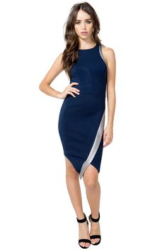 A sexy and sporty envelope dress, featuring a curve-hugging body with curved seams and a racerback and front. Shiny contrast trim. Finished ends. $32.50