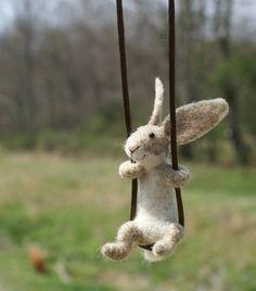 Swinging Felted Rabbit