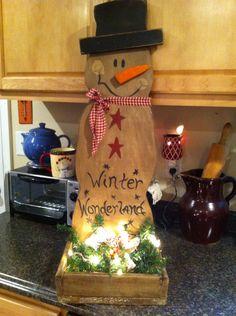 "Primitive Snowman w box, lighted garland & decorations ""Winter Wonderland"" made by Tammy's primitives."