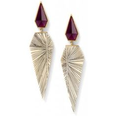 Monique Péan - Fossilized woolly mammoth and scrimshaw earrings with rhodolite