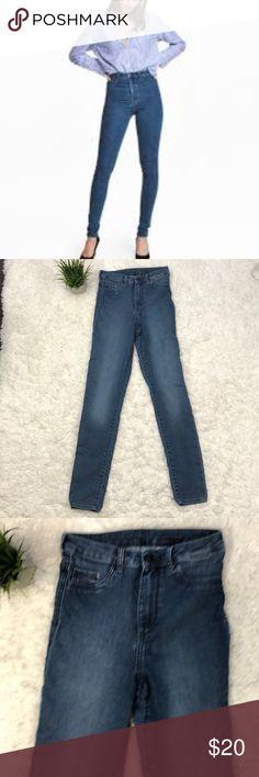 H&M super high waist jeggings Medium blue. Stretchy super high waisted jeggings.   Inseam 31 H&M Jeans Skinny