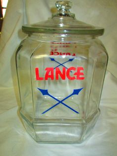 Large Vintage Lance Counter Store Jar with by CarolsTrueVintage