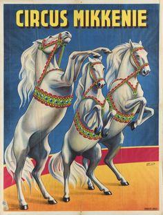 Vintage Circus Poster:  Circus Mikkenie (Europe)---Horses on Parade!