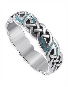 Promise Rings for Men-Sterling Silver Turquoise Inlay Celtic 6mm Southwestern $44.99