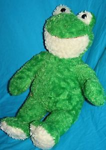 "Build A Bear plush Friendly Frog green cream red smile stuffed animal 20"" furry"