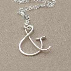ampersand necklace. sterling silver pendant. personalized jewelry. mothers necklace. friendship necklace.. $29.00, via Etsy.