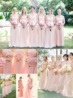 Long Blush Pink Bridesmaid Dresses