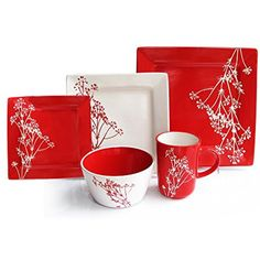 American Atelier Blossom Branch 20-piece Dinnerware Set, Service For 4, Red ** Click on the image for additional details. (This is an affiliate link) #KitchenDining