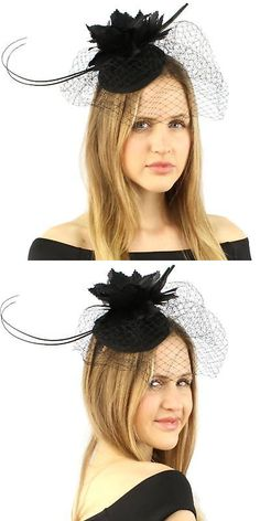 Fascinators and Headpieces 168998  Fancy Quill Swirl Wool Veil Feathers  Headband Fascinator Cocktail Hat Cap 5c5da2130cb9