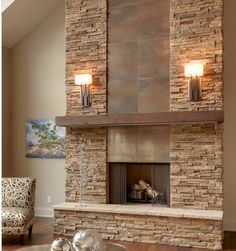 love the mix of textures and the sconces