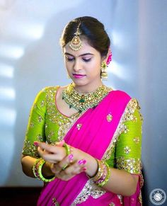 Top 13 Traditional South Indian Wedding Jewellery Trend of This Year Half Saree Designs, Sari Blouse Designs, Bridal Blouse Designs, Lehenga Designs, Blouse Patterns, Half Saree Lehenga, Saree Blouse, Banarasi Lehenga, Sharara