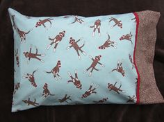 Sock monkey pillowcase travel size by granniesraggedybags on Etsy