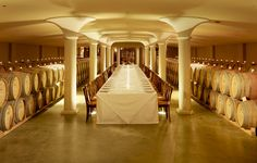The barrel cellar at Peller Estates Winery in Niagara-on-the-Lake, Ontario. Winery Bridal Showers, Best Wine Clubs, Different Types Of Wine, Wine Delivery, Amazing Spaces, Wine Gifts, Wine Cellar, Wine Country, A Table