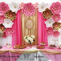 What a beautiful set up by Paper flowers made with her YAF templates. To order your templates send me a DM or email to… Crepe Paper Backdrop, Paper Flower Backdrop, Giant Paper Flowers, Princess Birthday, Princess Party, Birthday Decorations, Baby Shower Decorations, Girl Themes, Reception Party