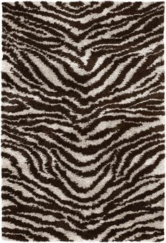 Chandra Rugs-Amazon Collection-AMA5604 Brown Zebra Area Rug.    Hand-woven Contemporary Shaggy Rug