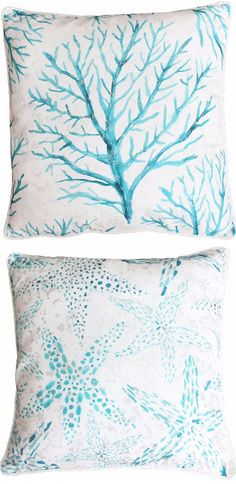 Blue Watercolor Pillows with Coral and Starfish Design, currently on Sale: http://www.beachblissdesigns.com/2017/01/blue-watercolor-pillows.html $22.49