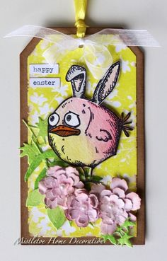 Easter tag with Tim Holtz crazy bird