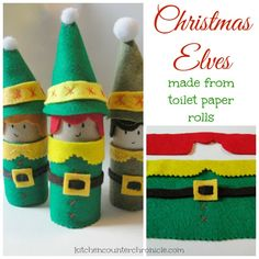 Fun and festive Christmas Elf craft - made from toilet paper rolls. A perfect craft to bring smiles to everyone's faces this holiday.