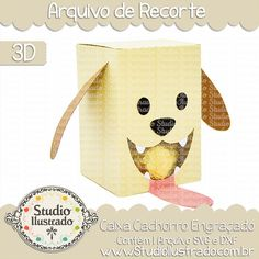 Caixa Cachorro Engraçado, Caixa, Cachorro, Engraçado, Funny Dog Box, Funny, Dog, Box, projeto 3d, boxes, box, arquivo de recorte, caixa, 3d,svg, dxf, png, Studio Ilustrado, Silhouette, cutting file, cutting, cricut, scan n cut.