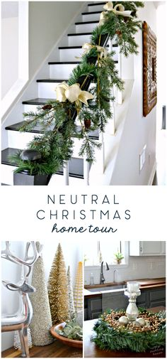 Christmas DIY: Illustration Description Check out this year's neutral Christmas house tour with lots of ideas for a sophisticated color palette during the Christmas Colors, Christmas Home, Christmas Decorations, Christmas Ideas, Holiday Ideas, Winter Home Decor, Winter House, Natural Home Decor, Easy Home Decor