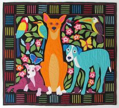 """Los Perros de Panama"" (The Dogs of Panama) by Kathleen Kennedy-Dennis.  Original Mola-inspired design.  2014 Houston International Quilt Festival"