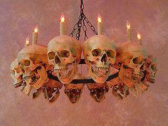 Life-Size Skull Chan Life-Size Skull Chandelier w/ 12 Skulls Halloween Prop Human Skeletons NEW Fairy Halloween Costumes, Theme Halloween, Halloween Skull, Halloween Projects, Diy Halloween Decorations, Holidays Halloween, Halloween 2019, Gothic Horror, Jouer Au Poker