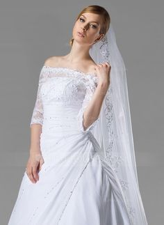 Cathedral Bridal Veils Tulle One-tier Oval Drop Veil Lace Applique Edge Applique Sequin 118.11 in (300cm) White Ivory White Spring Summer Fall Winter A-line/Princess Ball Gown Empire Sheath Mermaid Color & Style representation may vary by monitor 0.15 kg