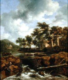 Boisé Paysage de rivière de Jacob Isaakszoon Van Ruisdael (Ruysdael) (1628-1682, Netherlands)