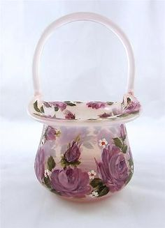 3880425c1ef 1987 Fenton Lavender  Light Purple Basket Hand Painted Roses By Louise  Piper Fenton Glassware,