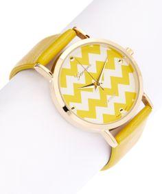 Yellow Chevron Leather-Strap Watch