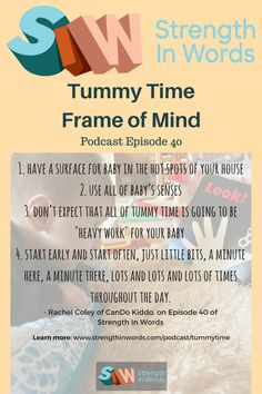 How do we promote tummy time? By understanding more about the rationale behind it, and by listening to these great tips from Rachel Coley :: Strength In Words