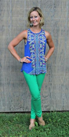 Primally Inspired Tucker Mixed Print Split-Back Tank with Green Emer High Waisted Cropped Trousers- stitch fix Casual Outfits, Cute Outfits, Fashion Outfits, Fashion Scarves, Fashion Fashion, Runway Fashion, Fashion Ideas, September Stitch Fix, Fix Clothing