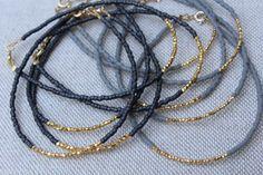 Gold Beaded Bracelet Grey and Gold Bracelet by lizaslittlethings
