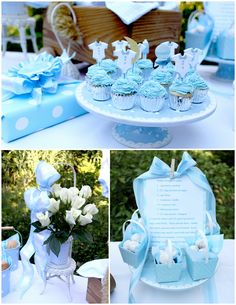 Baby Boy Shower - Once in a Blue Moon Theme. So cute. Love those onesie cupcake toppers