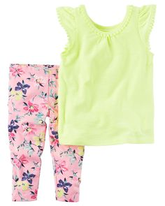 Baby Girl 2-Piece Neon Tank & Capri Legging Set Featuring a pom-trimmed neon tank and floral printed capri leggings, this warm weather combo has her dressed in a breeze.