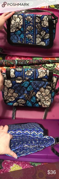 SALE Vera Bradley crosstown crossbody blue bayou Outside back has a full length slip pocket. Main compartment is a flip magnetic snap closure. Inside is divided into 2 compartments with a zip pocket in the larger compartment. Vera Bradley Bags Crossbody Bags