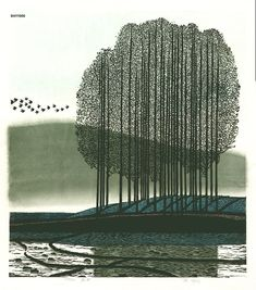 """Shi Yi (born 1939, Chinese) """"A Morning Song"""" woodcut 1997 edition of 300 19.3"""" x 21.7"""". Very reminiscent of one of my favorite printmakers' works, that of Antonio Frasconi."""