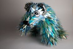 animal sculptures made out of recycled CD fragments by Australian artist Sean Avery