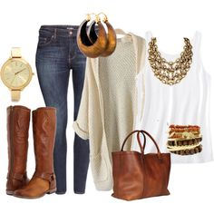 cognac, gold, cream, and white toned outfit for the curvy girl! Created in the Polyvore Android app. http://www.polyvore.com/android