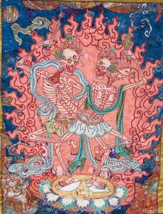 There is an old Tibetan legend saying that long ago there were two ascetic Buddhist monks, who would meditate so profoundly, they'd lose all contact with the outside world. One such time - being lost in a deep state of meditation - they were caught unaware by a thief and beheaded; therefore they did not realize [immediately] they had died. The two became the Lords of the Cemetery, dancing an ecstatic Tsam dance - an eternal dance of death.