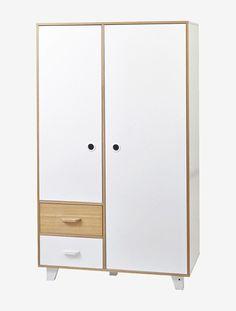 armoire 2 portes 2 tiroirs hopla blanc vertbaudet enfant