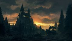 The Messenger by andreasrocha on deviantART ~ digital painting ~ creepy castle