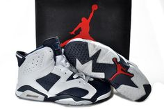 low priced 6a733 48532 Air Jordan 6 VI Retro Basket Olympic Bianco Midnight Navy Varsity Red  Vendita On-line