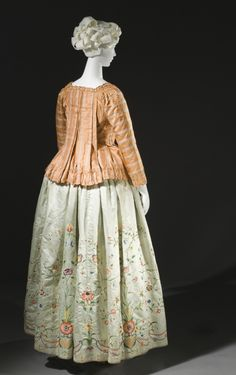 Woman's Petticoat China for the Western market, circa 1785 Costumes; principal attire (lower body) Silk satin with silk embroidery Center back length: 41 in. (104.14 cm) Purchased with funds provided by Suzanne A. Saperstein and Michael and Ellen Michelson, with additional funding from the Costume Council, the Edgerton Foundation, Gail and Gerald Oppenheimer, Maureen H. Shapiro, Grace Tsao, and Lenore and Richard Wayne (M.2007.211.708)