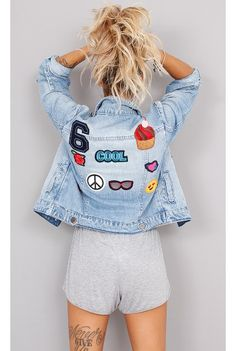 Jaqueta Jeans Fun Patches - fashioncloset